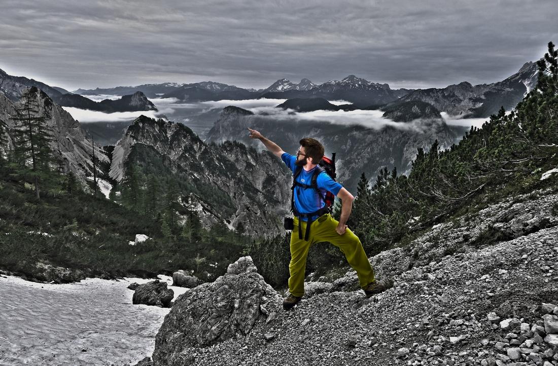 Alpinist bei der Arbeit