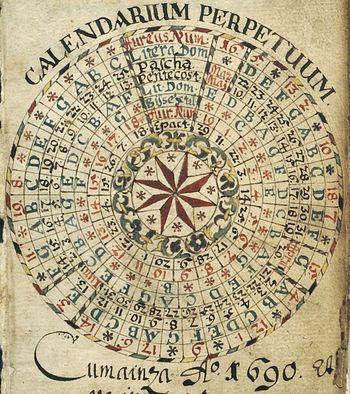 Werkzeug der Computisten: Julianischer, ewiger Kalender (Wikipedia)