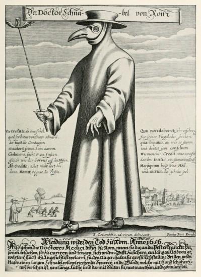 Der Doktor Schnabel von Rom mit Pestschnabel und Flügelstock (Paul Fürst / 1656)