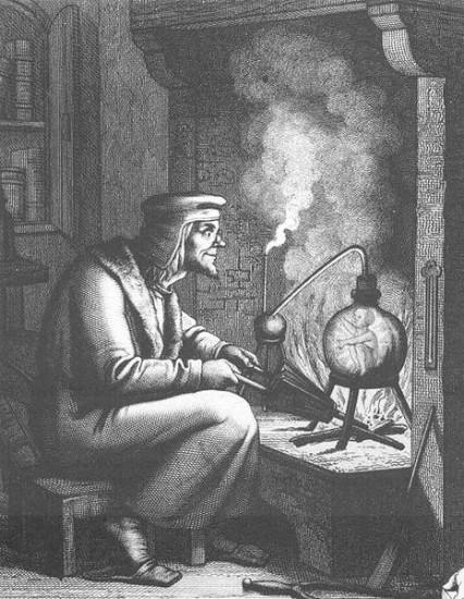 Alchemist bei der Erzeugung eines Homunkulus (Quelle unbekannt)