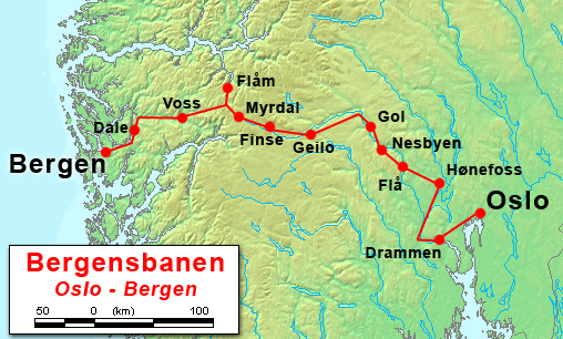 Bergensbanen Oslo - Bergen (Wikimedia Commons)