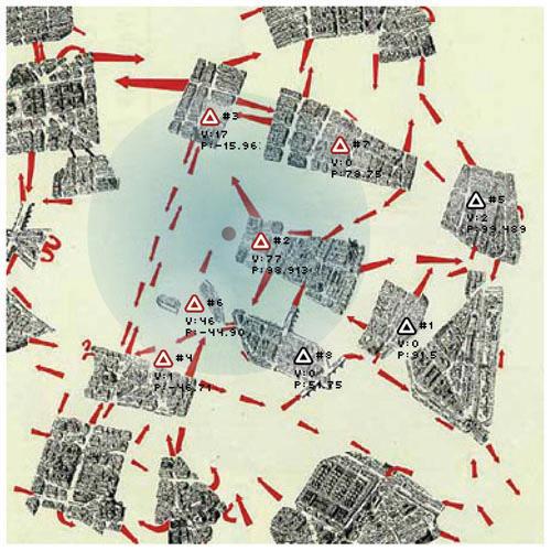 Psychogeographischer Auszug von Paris nach Debord (Quelle: x-tet.com)