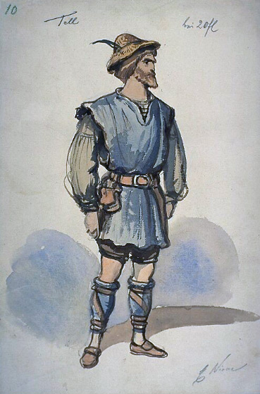 Kostümentwurf für Stüssi den Flurschütz (Franz Gaul, 1875 via bildindex.de)