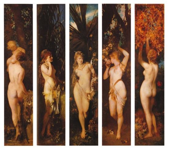 Die fünf Sinne, Gemälde von Hans Makart aus den Jahren 1872–1879: Tastsinn, Hören, Sehen, Riechen, Schmecken. (Wikimedia Commons)