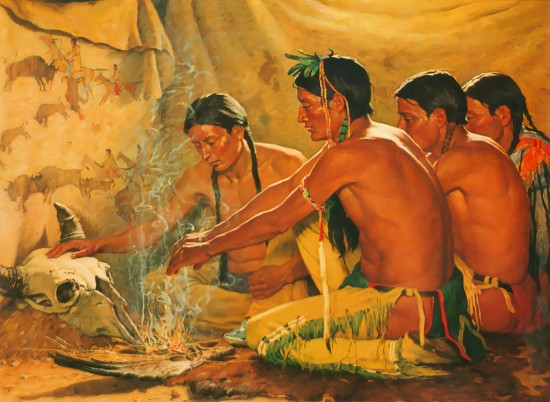 "Spiritualität als zentrales Merkmal ""wilden Denkens"" (Joseph Henry Sharp/ Prayer to the spirit of the buffalo via wikimedia commons)"