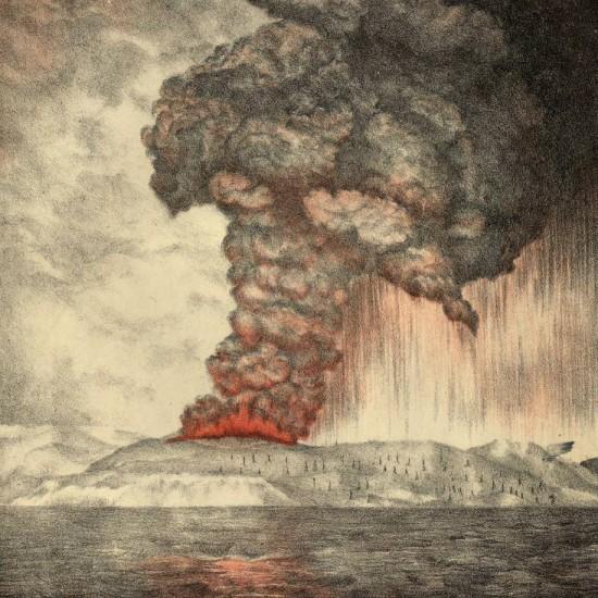 Die Eruption des Krakatua von Parker & Coward 1888 (Wikimedia Commons)