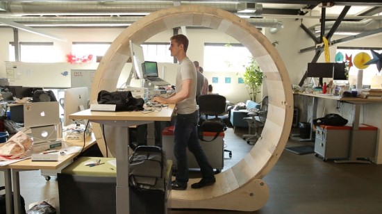 Hamster Wheel Standing Desk (via instructables.com)