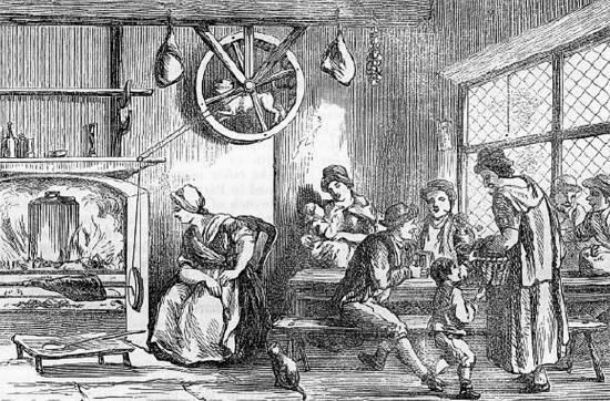 Englische Küche um 1800 mit Turnspit Dog (Wikimedia Commons)