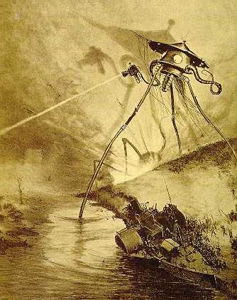 Angriff der Marsianer in Krieg der Welten. Buchillustration von Alvim Corréa aus dem Jahr 1906 (Wikimedia Commons)