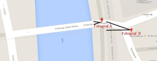 Hauptbrücke in Graz (Google maps)