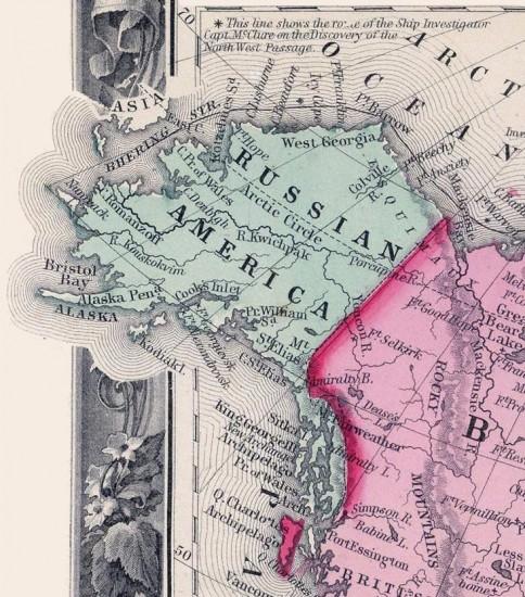 """Alaska auf einer Karte von 1860, damals """"Russian America"""" (wikimedia commons)"""