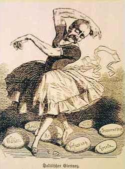 """Bismarck beim """"Politischen Eiertanz"""", Frankfurter Laterne , 1863 (via nwzonline.de)"""