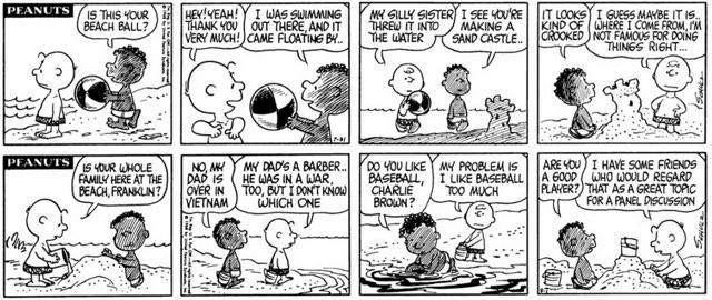 Die ersten Peanuts Comic-Strips mit Franklin. © Charles Schulz