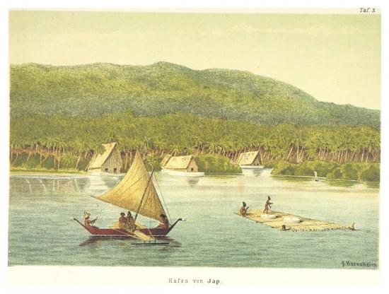 Zwei Steine erreichen die Insel Yap auf einem Floß. (Wikimedia Commons)