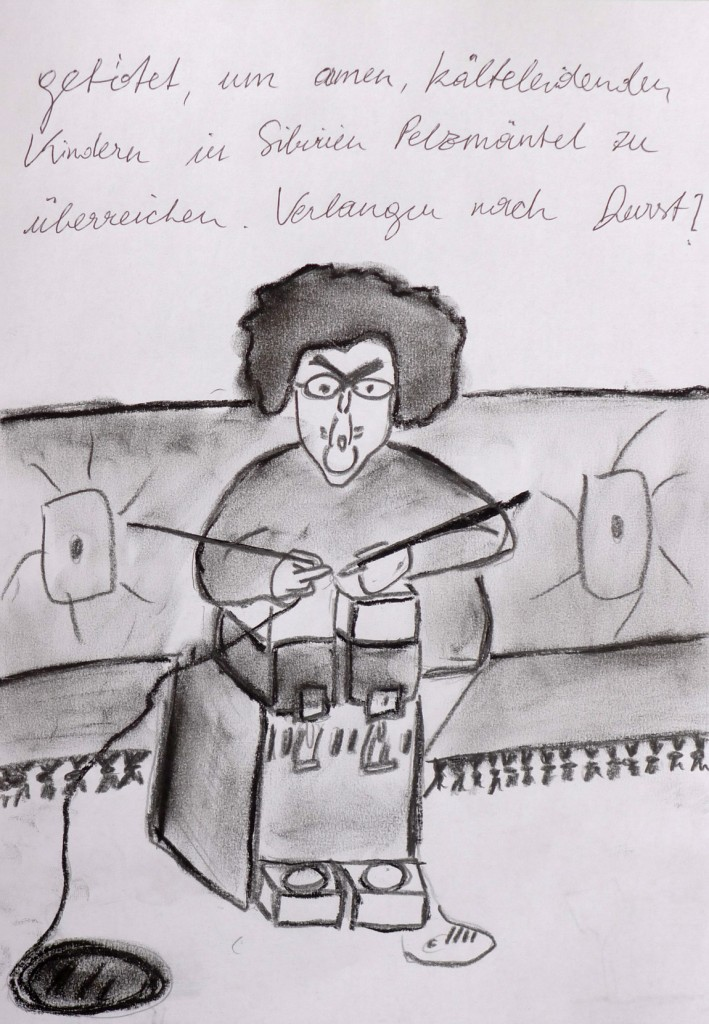 Pavels Illustration #23 - Tante Jutta strickt Saftautomaten