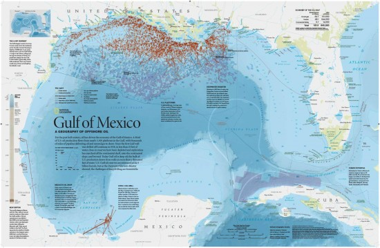 After the worst oil spill in history—the April 2010 explosion and sinking of the Deepwater Horizon rig in the Gulf of Mexico—National Geographic created a map of the many oil rigs off the coasts of Texas, Louisiana, Alabama, and Mississippi. The map's opposite side shows where the surface oil spread and depicts the rich marine ecosystem that suffered the consequences of the spill. (via NGS Maps)