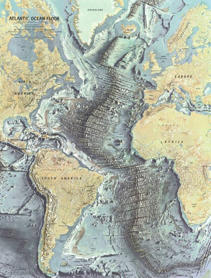 Based on the work of geophysicists Bruce Heezen and Marie Tharp, this 1968 map of the ocean floor helped bring the concept of plate tectonics to a wide audience. Tharp began plotting the depths in 1950 from soundings taken by ships in the Atlantic, but, as a woman, wasn't allowed on the ships herself. In 1978 she was awarded the Society's Hubbard Medal for her pioneering research. (via NGS Maps)