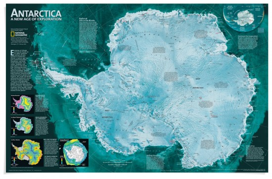 """In the early 1900s Roald Amundsen, Ernest Shackleton, and Robert Falcon Scott raced each other to the South Pole. A February 2002 map of the area included surface elevation, ice sheet thickness, and ice flow velocity, as well as the location of the many research bases and automated weather stations. The text notes: """"Antarctica is a mapmaker's nightmare: By the time it is drawn, it is likely to have changed significantly."""" (via NGS Maps)"""