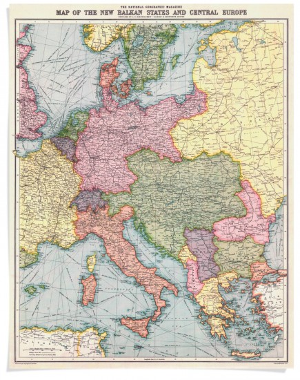 In August 1914, National Geographic magazine published a map of Europe and the Balkan States, subsequently to be the scene of one of the bloodiest conflicts in history—World War I. Editor in Chief Gilbert H. Grosvenor sensed the looming conflict and had the maps printed, stored in the basement, and ready to go. (via NGS Maps)