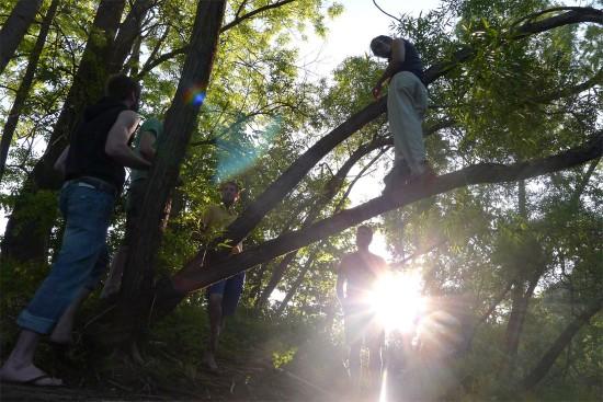 Maenner im Baum, mit Dessous Club