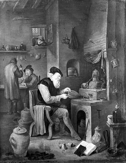 Ein Alchemist in seinem Labor (David Teniers der Jüngere [Schüler] / 17. Jhdt. / wikimedia commons)