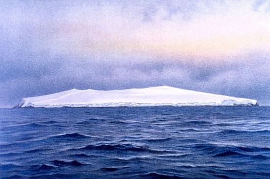 Südostküste der Bouvetinsel, von Fritz Winter handkolorierte Schwarzweißphotographie (1898) (Wikimedia Commons)