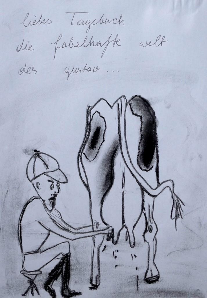 Pavels Illustration #28: Gust/Gustl/Gustavs wunderbare Welt mit Kuh