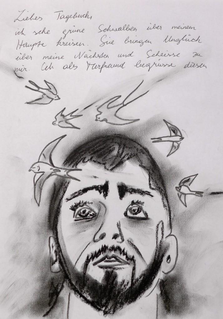 Pavels Illustration #29 - Schwalben kreisen um sein Haupt