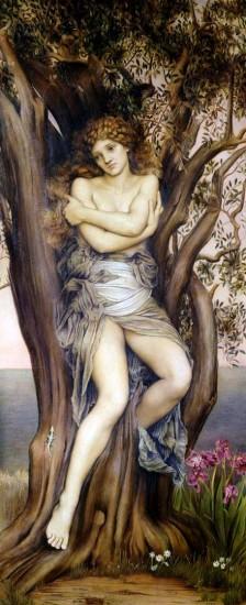 Eine Dryade, Baumgeist der griechischen Mythologie (Evelyn de Morgan / 1884 / wikimedia commons)