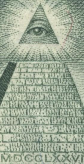 Das Allessehende Auge auf der Ein-Dollar-Note. Natürlich im Dreieck.