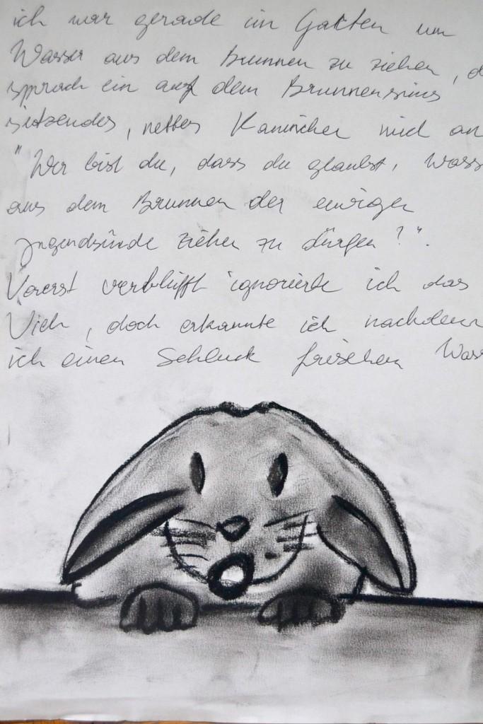 Pavels Illustration #32 - Das Kaninchen am Brunnensims