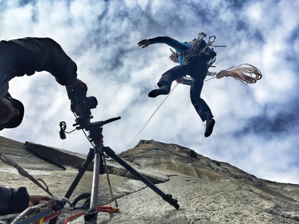 Brett Lowell and Corey Rich capturing Street View of Alex Honnold on the King Swing. © Google