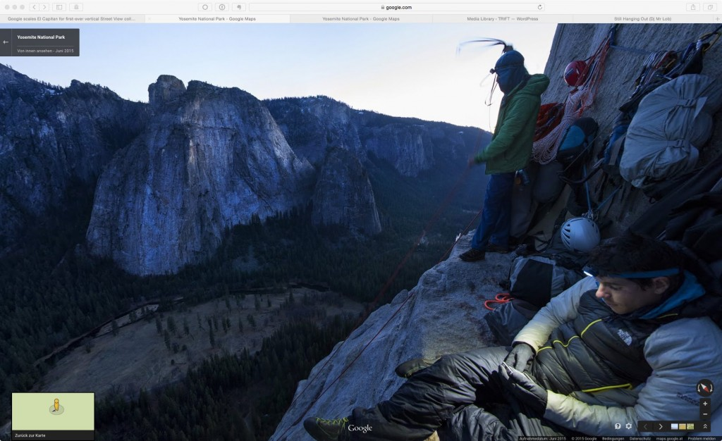 Lynn Hill, Alex Honnold and Tommy Caldwell camp out 1,140 feet up El Capitan. © Google