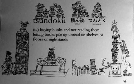 Ein findiger Reddit-User hat seine zwölfjährige Tochter gebeten Tsundoku zu illustrieren. (© Wemedge)