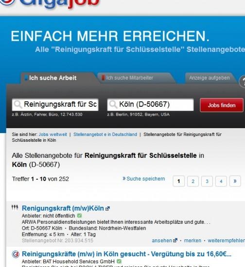 """Announce für """"Reinigungskraft für Schlüsselstelle"""" (gigajob.de)"""
