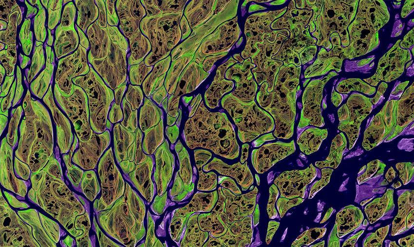 Ausschnitt Lenadelta Infrarot Satellitenaufnahme