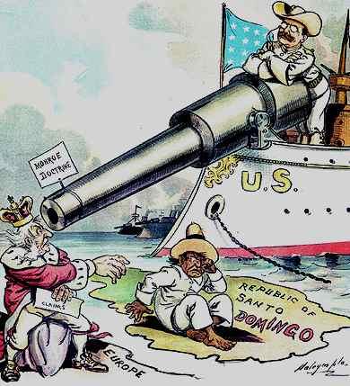 Karikatur über die Ausweitung der Monroe-Doktrin (1906 / wikimedia commons)