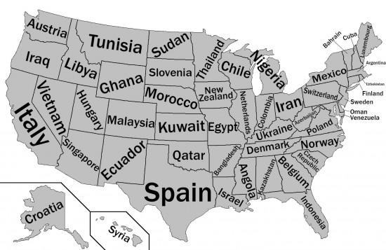 BIP-Vergleich der US-Bundesstaaten mit anderen Staaten