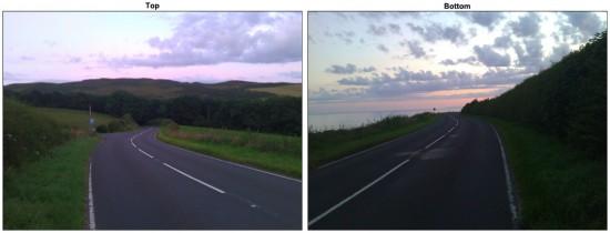 """Das linke Bild zeigt in Richtung des """"Gipfels"""" des Electric Shae, das rechte nach unten"""