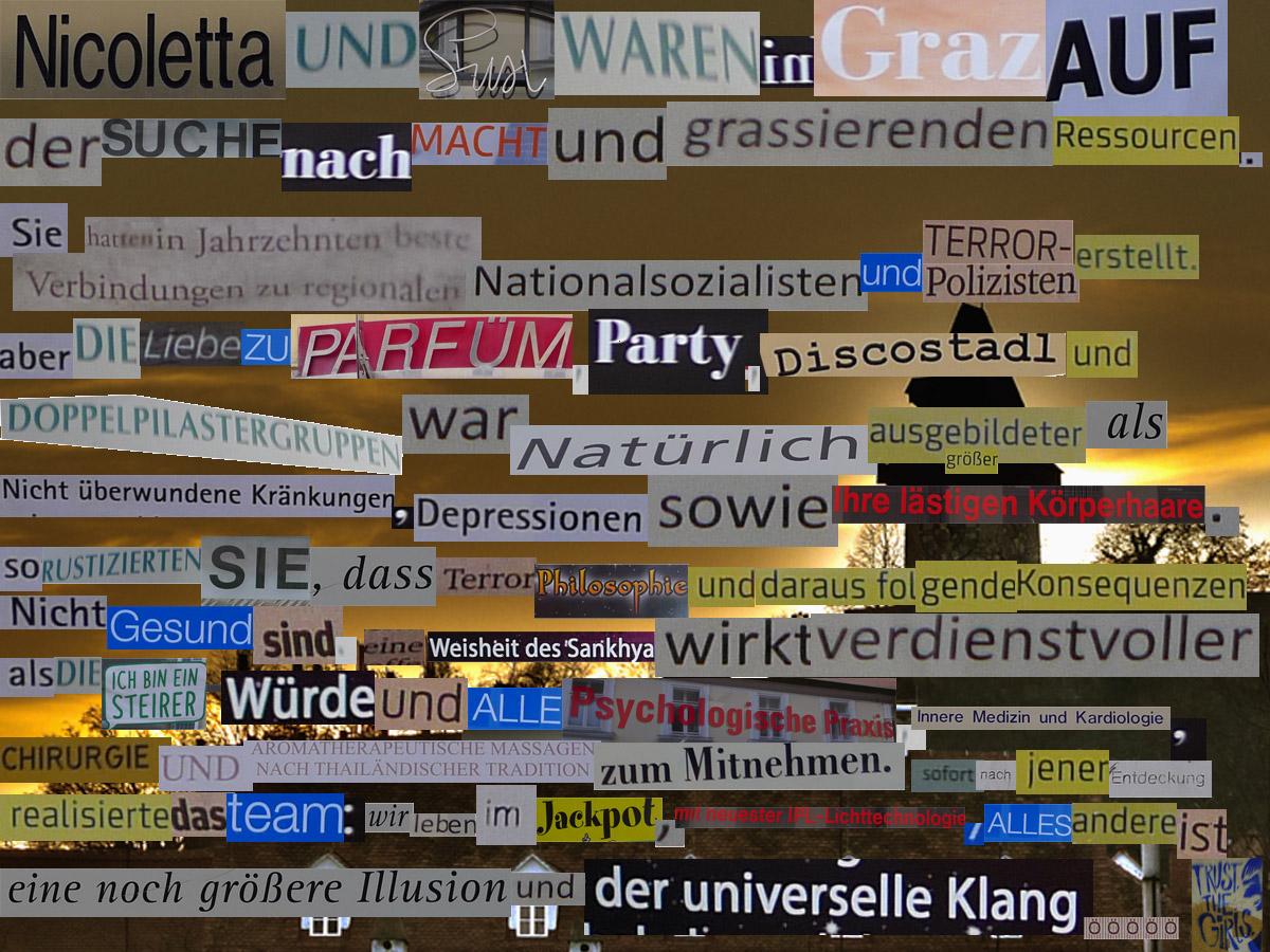 Collage aus Textstellen, fotografiert in der Grazer Innenstadt