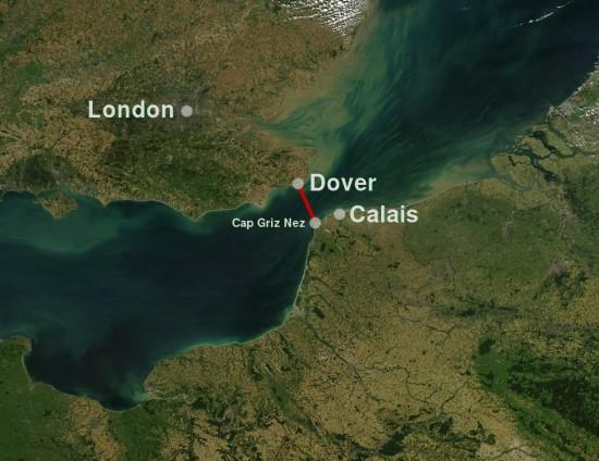 Kanalschwimmstrecke zwischen Dover und Cap Griz Nez durch den Ärmelkanal (Wikimedia Commons)