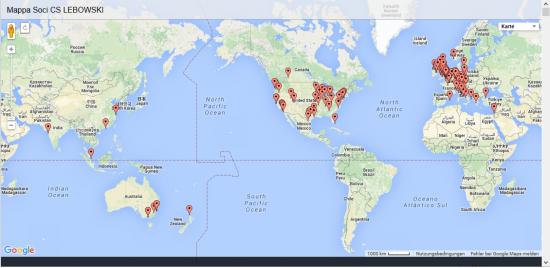 Weltumspannend: Der CS Lebowski hat Mitglieder in aller Welt (via cslebowski.it)