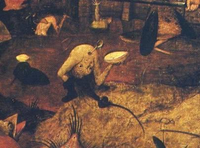 Ausschnitt aus Die tolle Grete von Pieter Bruegel, Loeffel im Anus