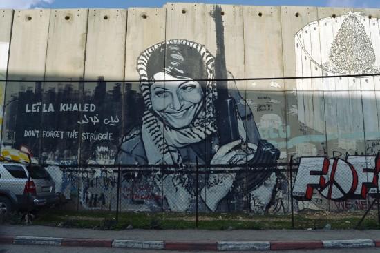 Graffiti von Leila Khaled auf der Befestigungsmauer in Betlehem (Julia Pagitsch)