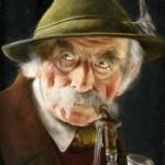 Carl Heuser: Mann mit Pfeife, Blick nach rechts