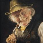 Carl Heuser: Froehlicher, alter Mann mit Pfeife