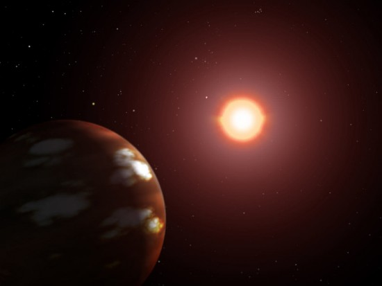 Künstlerische Darstellung von Gliese 436 b und seinem Stern (Wikimedia Commons)