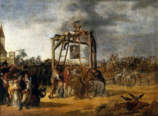 In effigie Aufhängen von Verrätern (Jean Pierre Norblin de la Groudaine / 1794 / wikimedia commons)