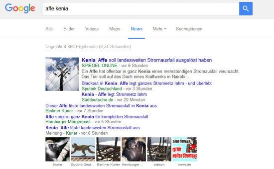"""Nachrichtenüberblick """"Affe Kenia"""" bei der Google News-Suche"""