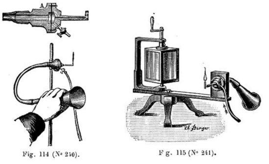 Zeichnung von Koenigs Apparatur zur Visualisierung von Schallwellen per Gasflamme (Koenig 1889, S. 85)